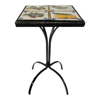 Mid 20th Century Petite Wrought Iron Tiled Table With Fruit Motif For Sale