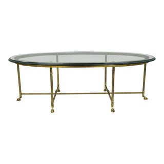 Vintage Mid-Century Labarge Brass & Glass Italian Coffee Table For Sale