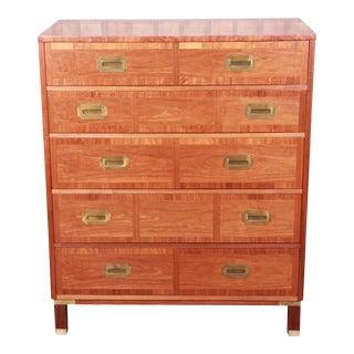 Baker Furniture Mid-Century Hollywood Regency Campaign Walnut Highboy Dresser, Newly Refinished For Sale