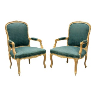 Pair Country French Louis XV Style Living Room Armchairs Vtg Distress Finished