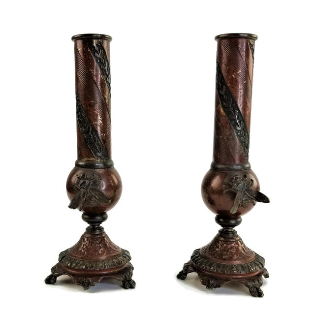 French Pair of French Champlevé Bud Vases - Enamel Gilt Bronze Brass Bud Vases For Sale - Image 3 of 13