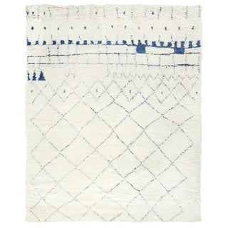 Weighton Ivory/Blue Hand knotted Wool Area Rug - 10'x14' For Sale
