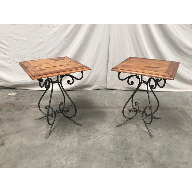 Rustic French Bistro Walnut SideTables With Iron Bases - a Pair For Sale - Image 10 of 12