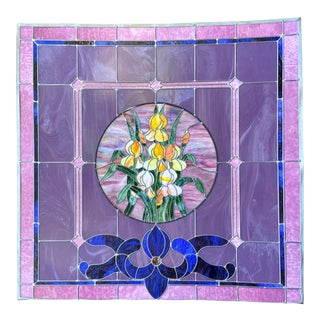Victorian Art Deco Antique Stain Glass Window 5 Feet For Sale