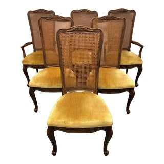 French Country Walnut Caned Dining Chairs by White of Mebane - Set of 6 For Sale