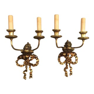 Gilt Bronze Fruit & Bow Wall Sconces - a Pair