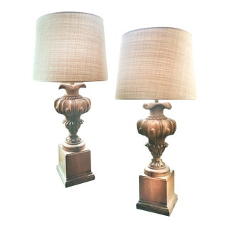 Carved Wood Baluster Table Lamps - a Pair For Sale