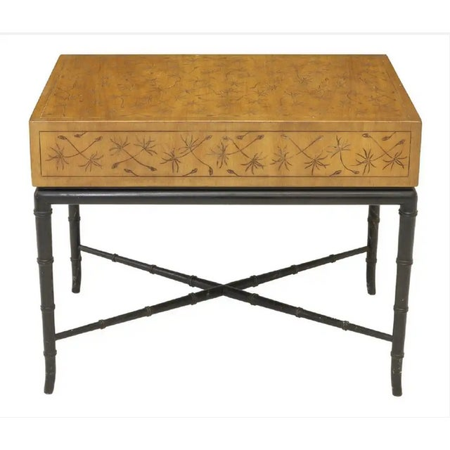 American mid-century side table, Kittinger Furniture, Buffalo, New York, having foliate incised rectangular tabletop,...