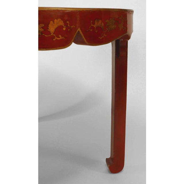 Asian Chinese Oval Red Lacquer and Gilt Stencilled Center Table For Sale - Image 4 of 8