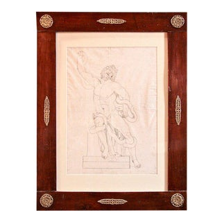 French 1820s Pen and Ink Study in 1830s French Charles X Frame For Sale