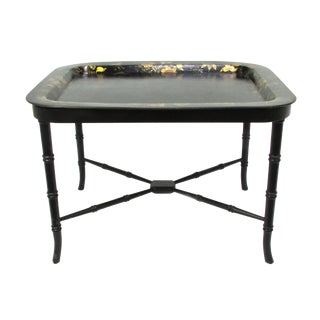 Antique 19th Century Gilt & Hand-Painted Papier Mache Tray With Faux Bamboo Table Stand