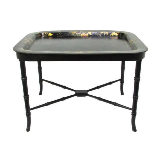 Antique 19th Century Gilt & Hand-Painted Papier Mache Tray With Faux Bamboo Table Stand For Sale