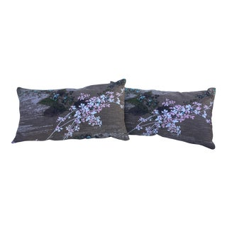 Vintage 1950's Barkcloth Pillows - a Pair