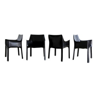 Set of Four Black Leather Cab Armchairs by Mario Bellini for Cassina