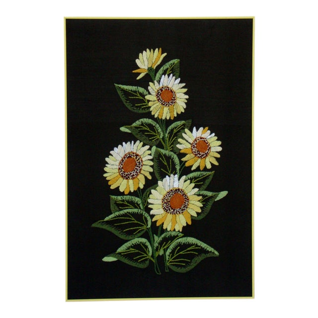Vintage Sunflowers Original Needlepoint Art - Image 1 of 8