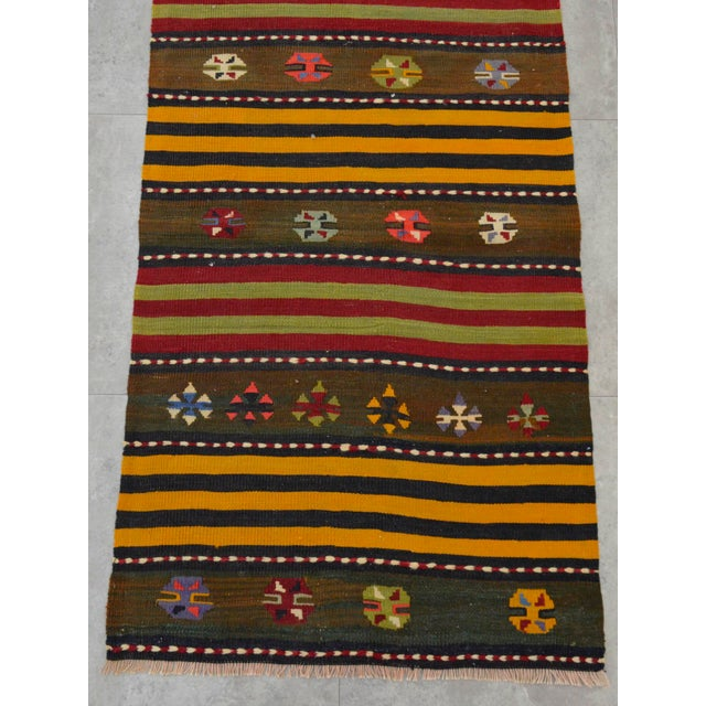 Turkish Kilim Hand Woven Wool Runner Rug - 2′6″ × 8′8 For Sale - Image 7 of 8