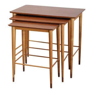 Danish Modern Grete Jalk Two-Tone Nesting Tables - Set of 3 For Sale