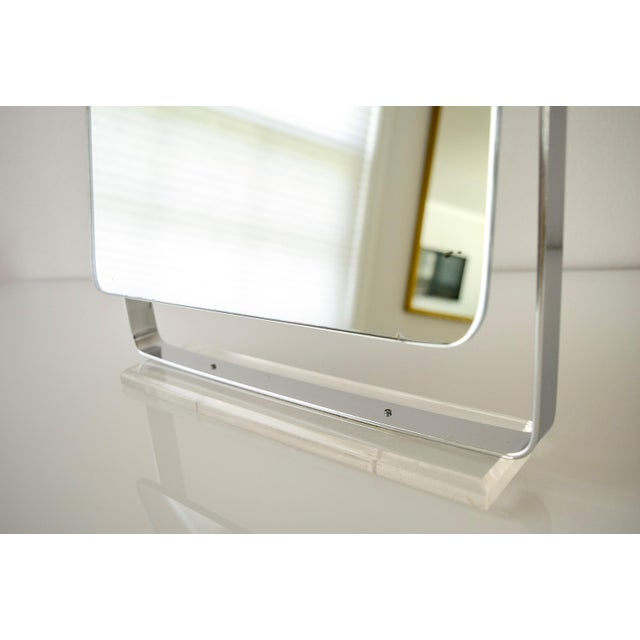 Silver Mid Century Chrome and Lucite Adjustable Tabletop Mirror For Sale - Image 8 of 10