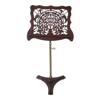Carved Mahogany Adjustable Lectern Music Rack Stand For Sale