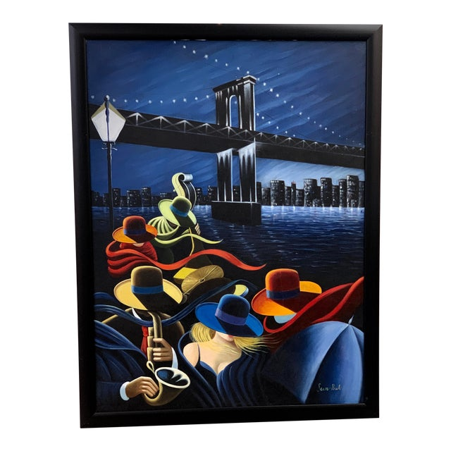 Jazz Band Under the Brooklyn Bridge New York City Painting For Sale