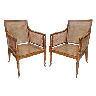 Pair of Regency Mahogany and Caned Armchairs For Sale