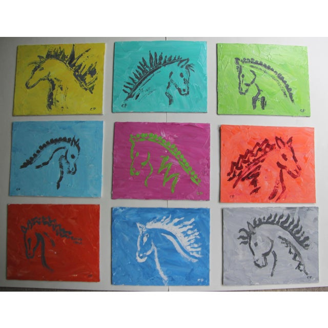 Nine abstract horse paintings on brilliantly colored textured impasto backgrounds. Painted with a coarse brush and a...