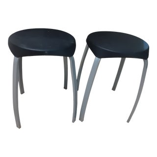 1990s Contemporary Aluminum and Black Modern Stacking Stools - a Pair For Sale