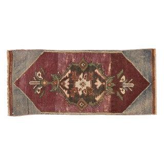 """Vintage Distressed Fragment Oushak Rug Mat - 1'2"""" X 2'8"""" For Sale"""