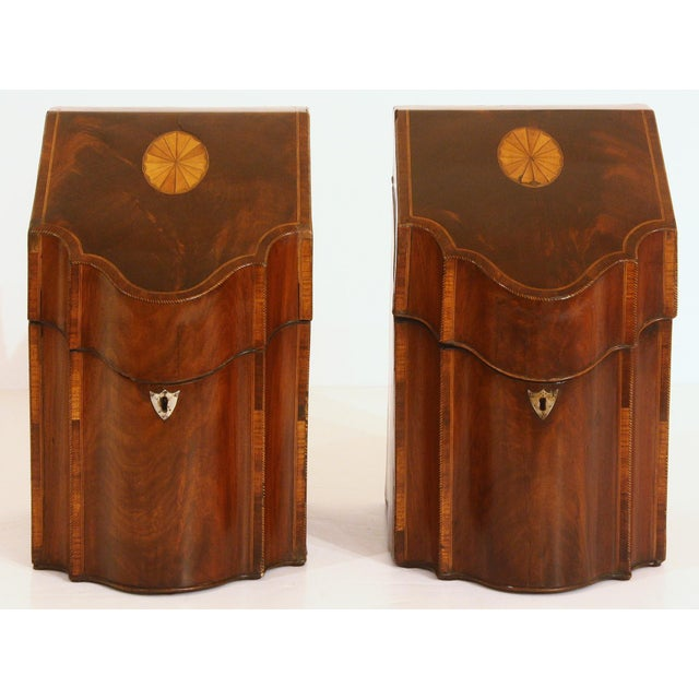 Brown Pair of George III Mahogany Serpentine Inlaid Knife Boxes Circa 1780 For Sale - Image 8 of 8