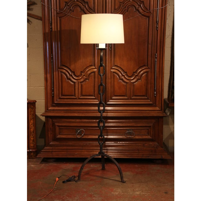 Late 19th Century Tall 19th Century French Black Forged Iron Anchor Rope Floor Lamp For Sale - Image 5 of 12