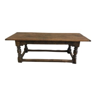 Early 19th Century Italian Oak Refectory Monks Plank Top Bolster Legs Dining Table For Sale