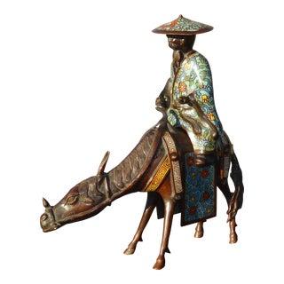 Vintage Bronze Oriental Asian Chinoiserie Man on Donkey Statue Figuerine