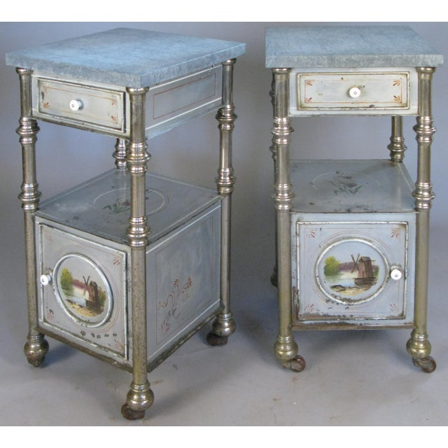 19th Century Painted Steel Nightstands - a Pair For Sale - Image 9 of 9