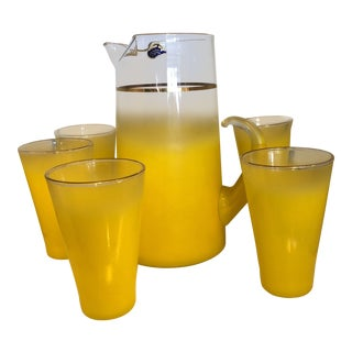1960s Vintage Blendo Yellow Pitcher and Glass Set - 6 Pieces For Sale