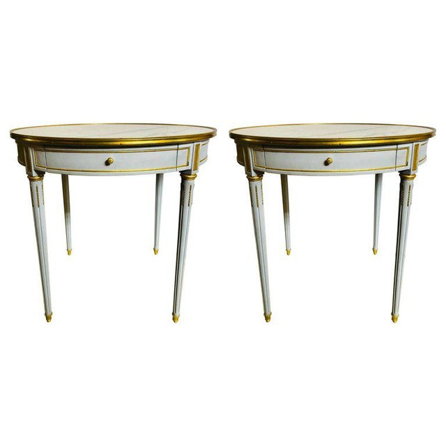 Pair Large Hollywood Regency Painted Bronze Mounted Bouiliotte Center End Tables For Sale - Image 13 of 13