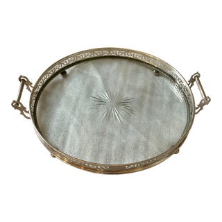 Antique 1900s English Sterling Silver & Crystal Tray For Sale