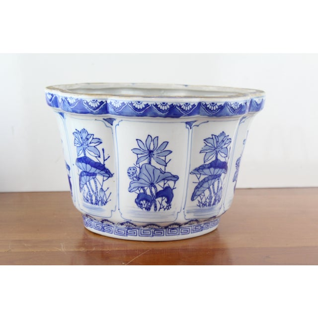 Blue Vintage Mid Century Floral Chinese Planter For Sale - Image 8 of 8