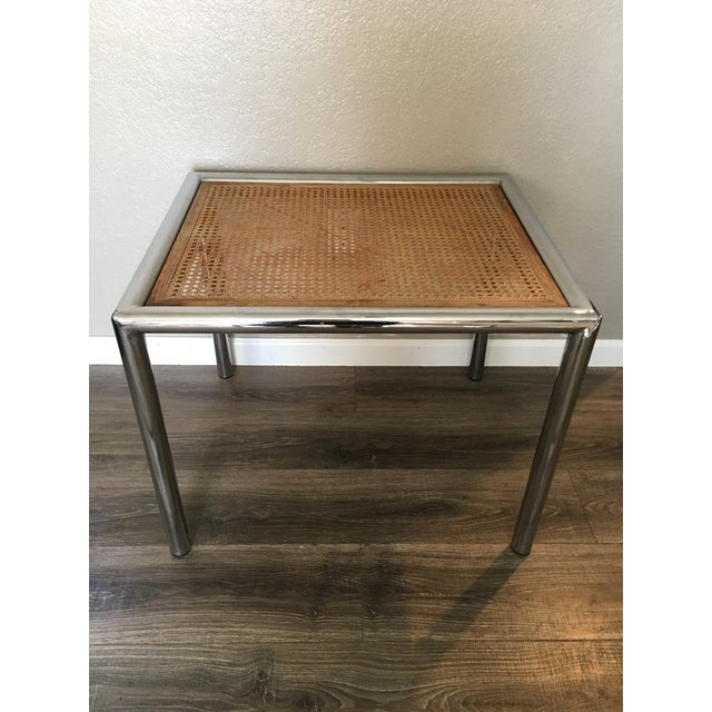 Tan 1950s Contemporary Marcel Breuer Chrome & Cane Accent Table For Sale - Image 8 of 8