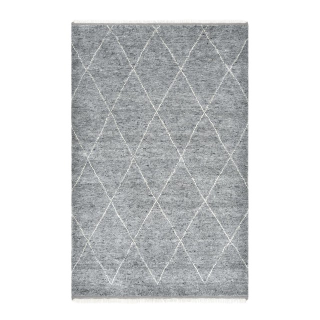 Shaggy Moroccan, Bohemian Shaggy Moroccan Hand Knotted Area Rug, Gray, 8 X 10 For Sale - Image 9 of 9