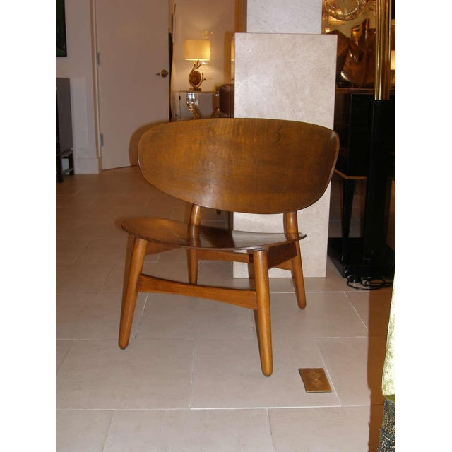Mid-Century Modern Hans Wegner Shell Chair with Original Label For Sale - Image 3 of 3