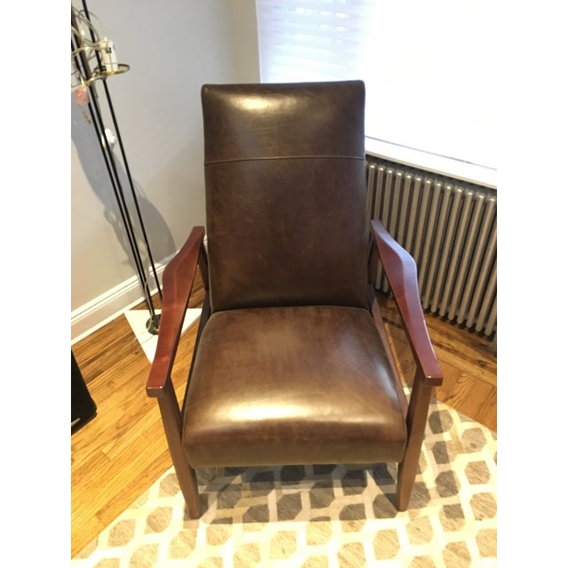 Arhaus Wordsmith Leather Recliner For Sale - Image 5 of 10