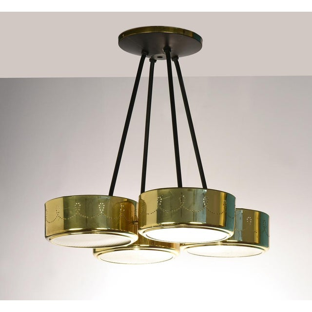 Gerald Thurston for Lightolier Four Shade Pendant Chandelier USA, 1950s 16 h x 13.5 w x 13.5 d in Ceiling canopy dia 6 in...