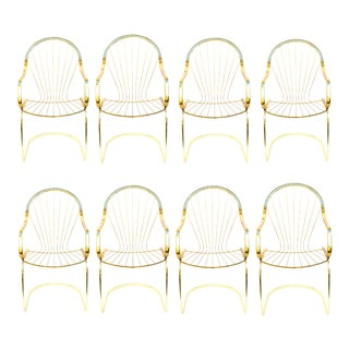 Set of 6 Italian Brass Cantilever Arm Chairs by Willy Rizzo for Cidue For Sale