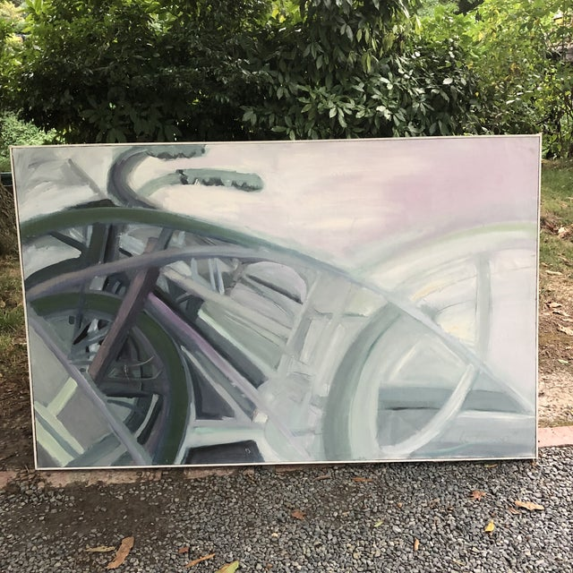 1970s Vintage Abstract Large Bicycle Signed Painting For Sale - Image 12 of 12