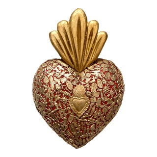 Gold and Red Flamed Wooden Sacred Heart Covered in Milagro Charms For Sale