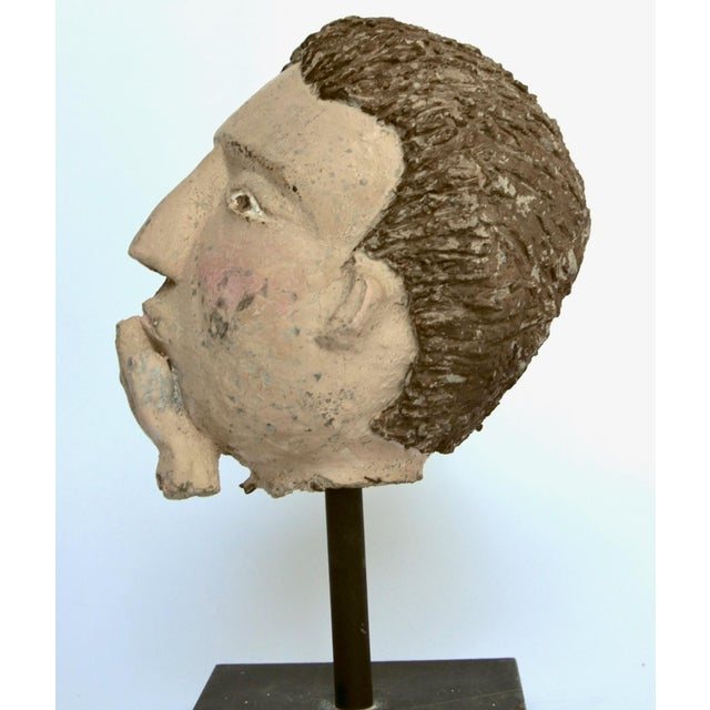 Americana Folk Sculpture Cement Head For Sale In Los Angeles - Image 6 of 7