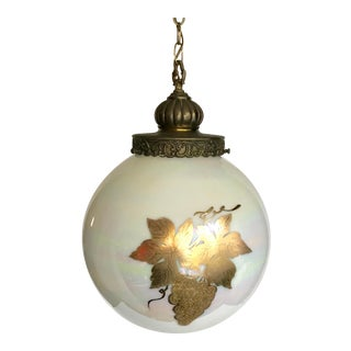 Vintage Mid Century Iridescent and Gold Globe Hanging Pendant For Sale