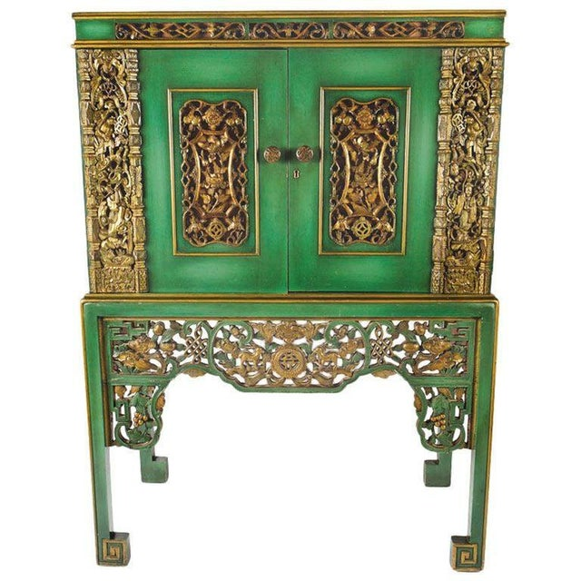 Emerald Green Chinese Cabinet Inset With Gilt Antique Panels For Sale - Image 11 of 11