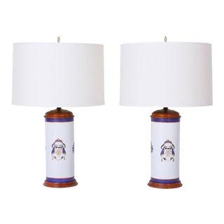 Armorial Porcelain Lamps - A Pair For Sale