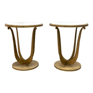 Pair of Gilt Iron and Carrara Marble Top Gueridon Tables For Sale